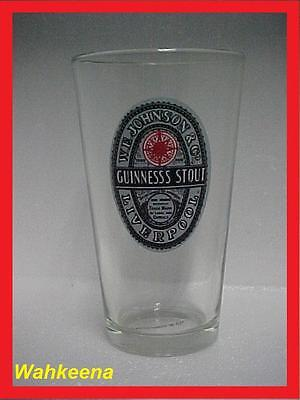 Guinness Stout Export Liverpool W.E Johnson & Co. Pint Beer Glass Retro New