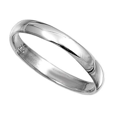 MENS STERLING SILVER PLAIN  BAND RING 3MM Wide Wedding Thumb Sizes G-Z