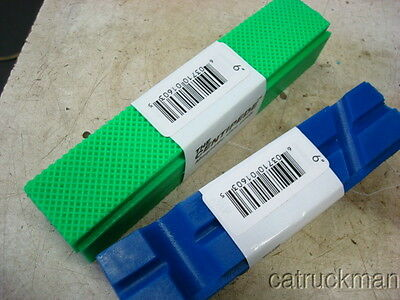 2 Sets of New Long Urethane Bench Vise Jaws w/ Magnetic Retainers Green & Blue