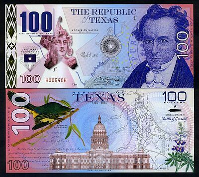 USA States, Republic of Texas, $100, Polymer, 2016, P-N/L, UNC Commemorative