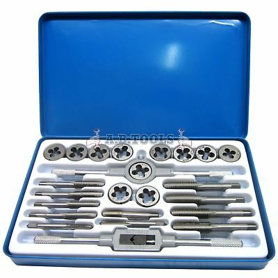 UNF (AF) and UNC Tap and Die 24pc Set Imperial with Metal Case IRE TE104