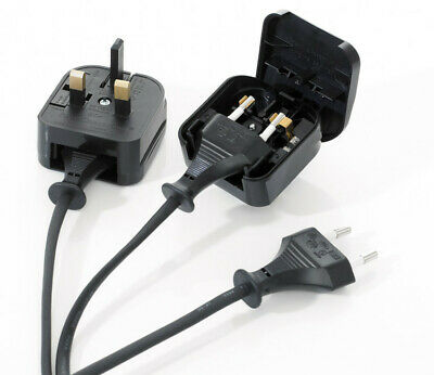 2 Pole Euro Europe EU Plug to 3 Pin UK Plug Fused Converter Mains Socket Adapter