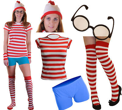 Ladies Red White Striped T Shirt Socks Glasses Hot Pants Fancy Dress Party Set