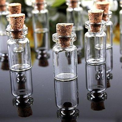 Mini Small Cork Stopper Glass Bottles Clear Empty Jars Vials Pendants Uk Cuboid