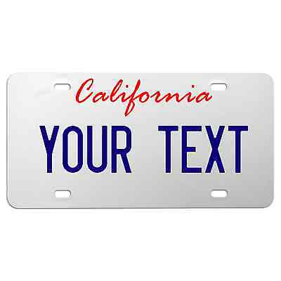 California Custom Text WHITE Aluminum License Plate Tag decal school (Your Text)