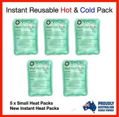 5 X NEW BRAND INSTANT HEAT PACKS - Great for Hand warmer ,Camping, Hot Pack