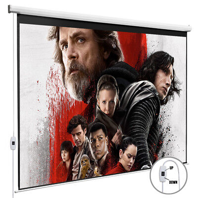 100'' 16:9 Electric Pull Down Projection Screen Projector Home Movie Matte White