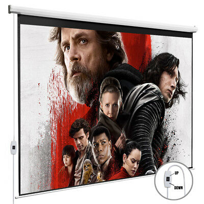 100'' Projection Screen 16:9 Electric Pull Down Projector Home Movie Matte White