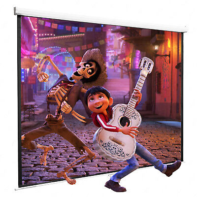 100'' Projection Screen16:9 Manual Pull Down Projector Home Movie Matte White