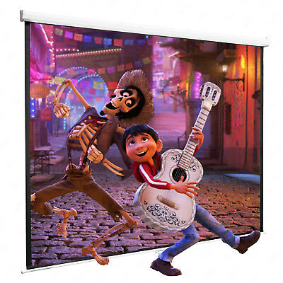 100'' Projector Screen 16:9 Projection HD Manual Pull Down Home Theater White