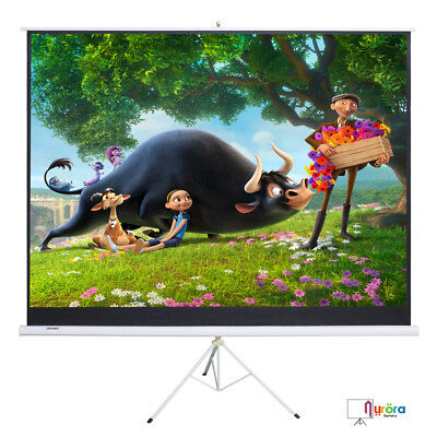 100'' 16:9 Projector Movie Tripod Projection Screen Matte White Portable Pull-Up