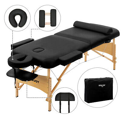"Black 84""L Fold Portable Massage Table Facial SPA Bed Tattoo w/Free Carry Case"