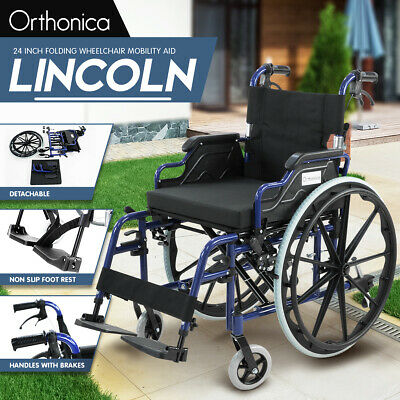 New Orthonica Lincoln Folding Wheelchair 24in Manual Mobility Aid Light Weight