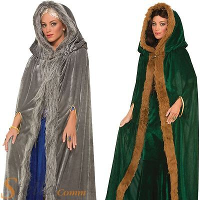Ladies Medieval Fur Cape Cloak Game Of Thrones Daenerys Fancy Dress Costume