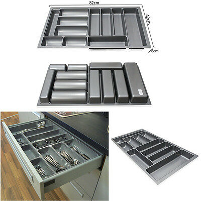 "900MM 35.4"" Grey Plastic Cutlery Kitchen Drawers Blum Tandembox Insert Tray Tidy"