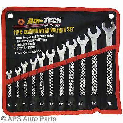 11pc Combination Wrench Set 6mm-19mm Spanner Mechanic Plumber Opened Ring Light