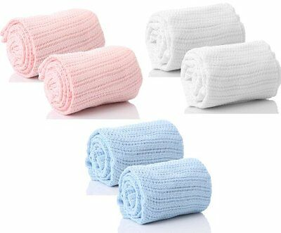 Pair of 100% Pure Cotton Cellular Baby Blanket for Pram Cot Bed Moses Basket
