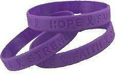 Hope Faith Courage Strength Awareness Wristband Bracelet Rubber Band Purple NEW
