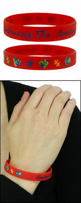 Autism Awareness Wristband RED  Embracing The Amazing !