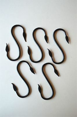 Set of 5 handmade wrought iron butchers hooks S hanger leaf hook 4 3/4 inch SM3