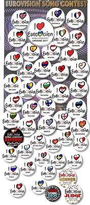 """Eurovision Song Contest Party Badges/ Eurovision Sweepstake~ 25 Mm/ 1 """""""