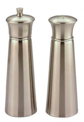 Salt Shaker and Pepper Grinding Mill ~ Brushed Stainless Steel Finish