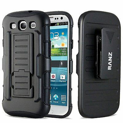 Samsung Galaxy S3 i9300 Case, Armor Hybrid Belt Clip with Kickstand - Black