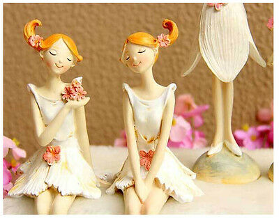Set of 2 Angel Figurine Flower Girl Figurine Shelf Sitter Home Decor Ornament