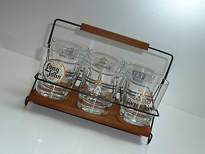 60er SET mit 6 WHISKY-GLÄSER VAT69 Black&White Long John 60s whisky-glasses set