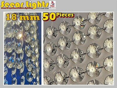 50 Chandelier Light Crystals Droplets Cut Glass Beads Wedding Drops 18Mm Parts