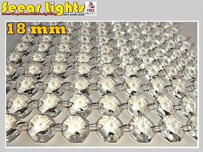 100 Chandelier Light Crystals Droplets Cut Glass Beads Wedding Drops 18Mm Parts