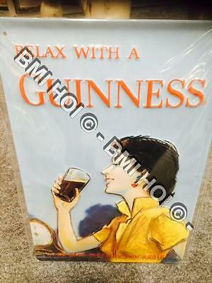 """Relax with a Guinness Novelty Metal sign 12"""" x 8"""" inches"""