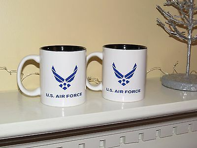 U.S. Air Force Insignia USAF White Ceramic Coffee Mug Set of 2 NEW