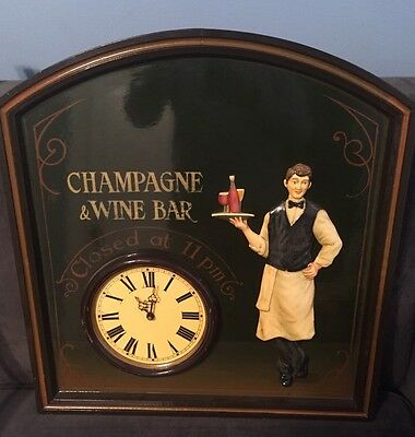 Vintage Handpainted Champagne Wine Bar Sign Vietnam Clock Unusual