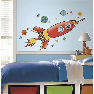 RoomMates RMK2619GM Rocket Peel and Stick Giant Wall Decals Orange RoomMates