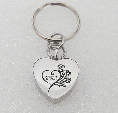 Roses Heart Cremation Jewelry Urn Key Ring Urn Memorial Keepsake Urn Key Chain