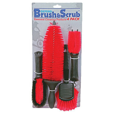 Oxford Brush & Scrub Motorcycle Motorbike Cleaning Brushes 4 Pack | Red
