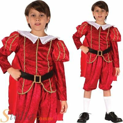Boys Tudor Prince Kids Child Medieval Book Week Fancy Dress Costume Outfit