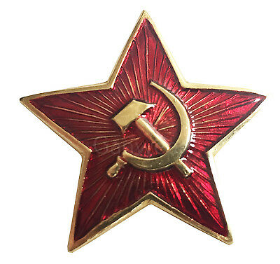 Soviet USSR Russian Army Military Big Red Star Ushanka Hat Cap Beret Metal Badge