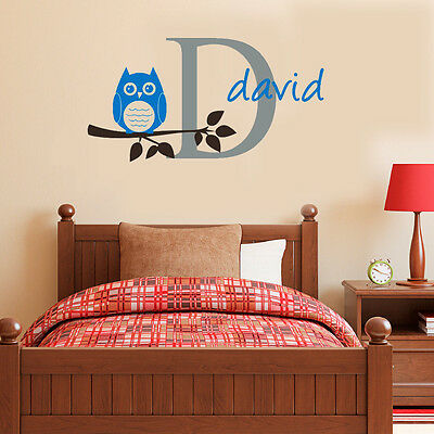 Wall Stickers custom name owl branch vinyl decal decor Nursery kids removable