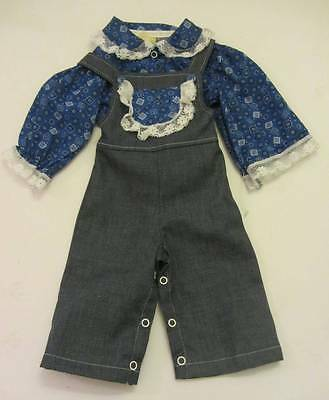 childrens denim vintage dungarees & blouse cowgirl lace 60's New 3-8 mths
