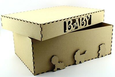 New Baby Keepsake Box MDF Blank Craft Memory Laser Cut Baby Shower Christening