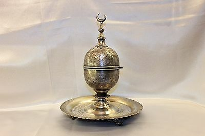 Antique Original Perfect Silver Arabian Islamic Big Amazing Incense Burner