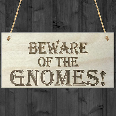 Beware Of The Gnomes Novelty Wooden Hanging Shabby Chic Plaque Garden Sign Gift