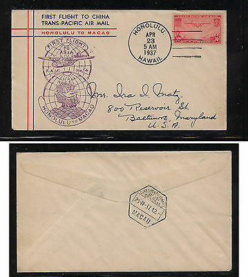 US   C22  Honolulu  to Macau  first flight cachet cover   1937   MS1004