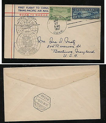 US C7,  C21  Guam to  Macau   first flight cachet cover 1937 MS1004