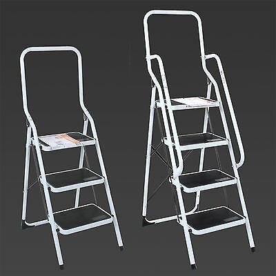 3 4 Step Ladder Steel Non Slip Tread Stepladder Safety Rail Handrail Foldable