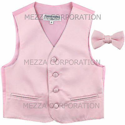 New Kids Boys Formal Tuxedo Vest Bowtie Pink US Sizes 2-14 Wedding Party