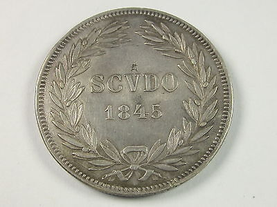 Italian States Papal States Scudo, 1845, Circulated, Uncertified