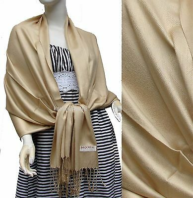 NEW Women Solid 100%Pashmina Wrap Stole Cashmere Wool Shawl/Scarf Soft Beige